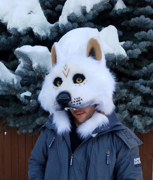 white wolf dance mask 1